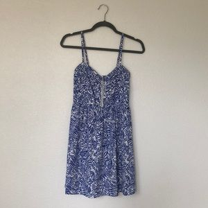Roxy Blue Tropical Print Skater Dress